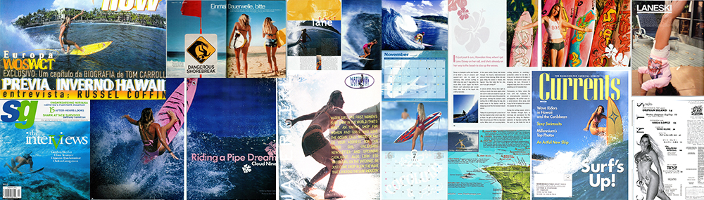 Action sports pioneer Lane LaneSki Davey in a collage of new and magazine features and covers